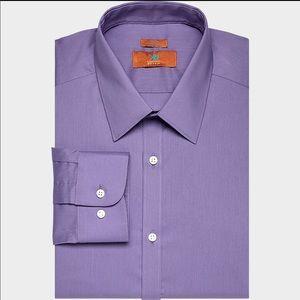 Egara Men Purple Dress Shirt Buttom Up Cotton